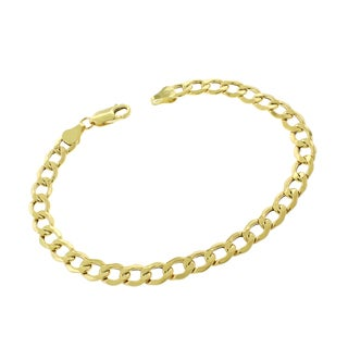 10k Yellow Gold 6.5mm Hollow Cuban Curb Link Bracelet Chain