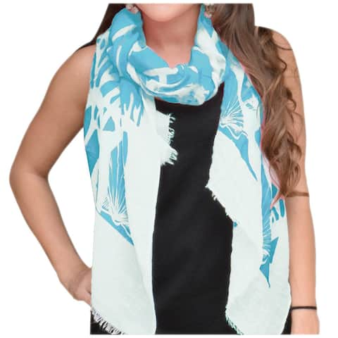 Peach Couture Nautical Shell Seahorse Cotton-blended Blue/White Scarf