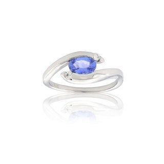 Suzy Levian Modern December Birthstone 14K Gold Tanzanite and Diamond 0.95 TCW Ring