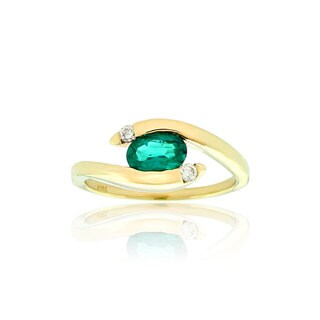 Suzy Levian Modern May Birthstone 14K Yellow Gold Emerald and Diamond .70 TCW Ring