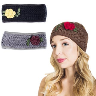 Handmade Petal Kiss Winter Fleece Lined Headband (Nepal) (Option: Black)
