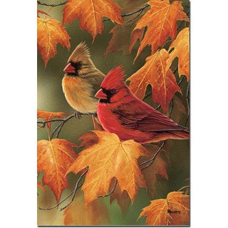 WGI Gallery Maple Leaves and Cardinals Wall Art Printed on Wood