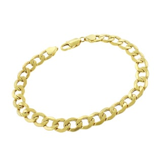 10k Yellow Gold 9mm Hollow Cuban Curb Link Bracelet Chain