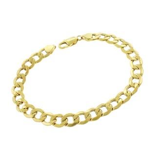 10k Yellow Gold 9mm Hollow Cuban Curb Link Bracelet Chain