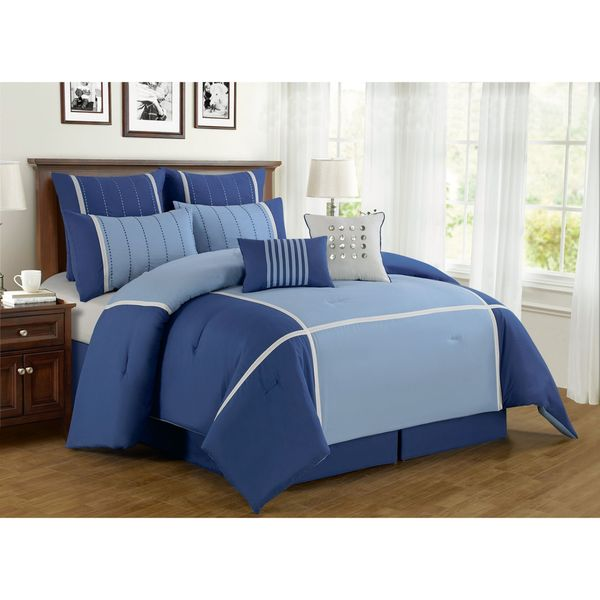 Oversized and Overfilled 8-Piece Stitched Blue Polyester Comforter Set