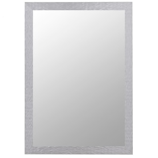 Shimmering Stainless Silver Wood-framed Mirror