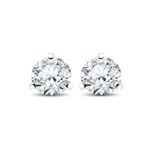 14k White, Yellow, or Rose Gold 1/4 ct TDW Lab-Grown Diamond 3-Prong Martni Studs