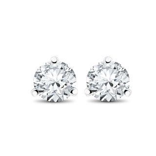 14k White, Yellow, or Rose Gold 1/4 ct TDW Diamond 3-Prong Martni Studs (F-G,SI-SI2)