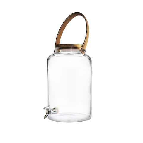 Kent Clear/Black/Brown Glass Beverage Dispenser with Leather Handles