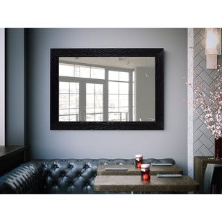 Hitchcock Butterfield Midnight Black Plastic Frame Wave-textured Mirror
