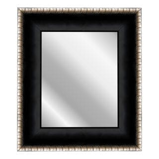 Satin Midnight Ebony Black/Silver Scrolls Mirror