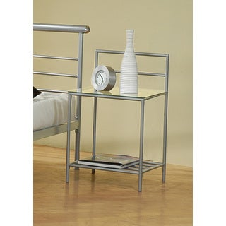 Coaster Silver Metal and Glass Nightstand