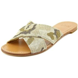 Stuart Weitzman Women's 'Byway' Green Cotton/Linen Sandals
