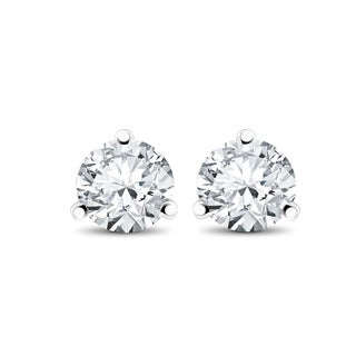 14k White, Yellow, or Rose Gold 1/3 ct TDW Diamond 3-Prong Martni Studs (F-G,SI-SI2)