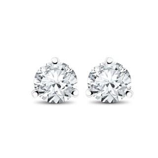 14k White, Yellow, or Rose Gold 1/3 ct TDW Diamond 3-Prong Martni Studs - White