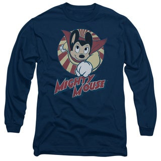 Mighty Mouse/The One The Only Long Sleeve Adult T-Shirt 18/1 in Navy