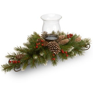 Frosted Berry Evergreen/Steel/Glass 30-inch Centerpiece and Candleholder