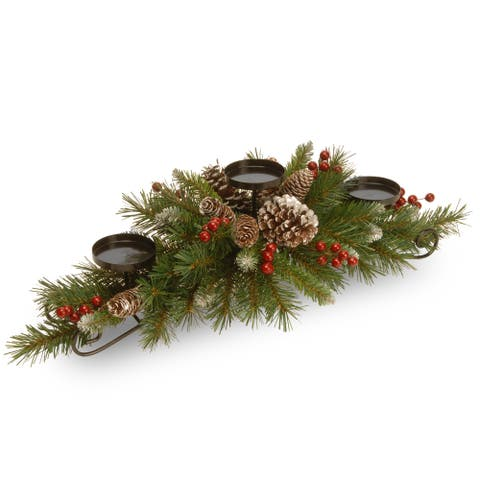 """National Tree Company 30"""" Frosted Berry Christmas Centerpiece with 3 Candle Holder"""