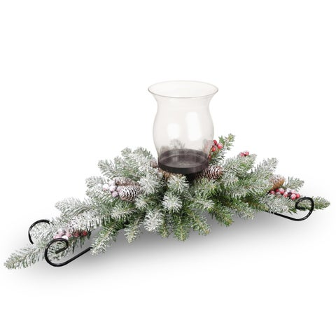 30-inch Snow-covered Dunhill Fir Centerpiece and Candle Holder