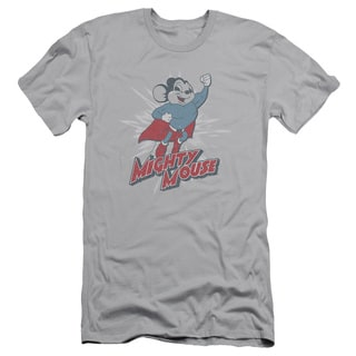 Mighty Mouse/Mighty Blast Off Short Sleeve Adult T-Shirt 30/1 in Silver