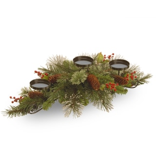Wintry Pine 30-inch Centerpiece and Candle Holder