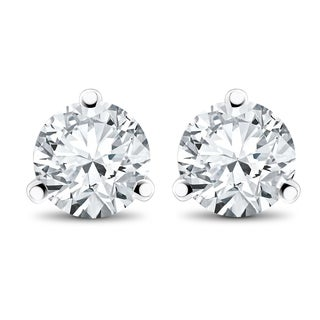 14k White, Yellow, or Rose Gold 1/2 ct TDW Diamond 3-Prong Martni Studs (F-G,SI-SI2)