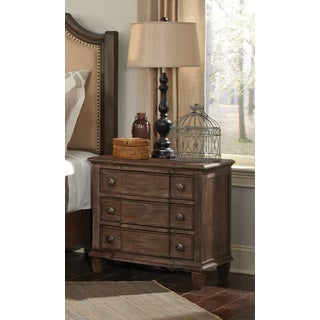Brown-finish Wood 2-drawer Nightstand