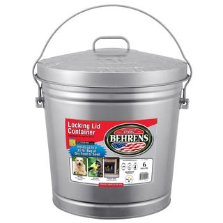Behrens High Grade Steel 6106 6 Gal Silver Galvanized Steel Storage Can W/Locking Lid