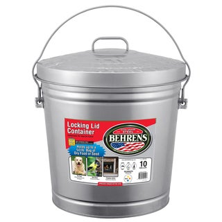 Behrens High Grade Steel 6110 10 Gal Silver Galvanized Steel Dry Storage Can W/Locking Lid