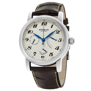 Mont Blanc Men's 106462 'Star' Cream Dial Brown Leather Strap Power Reserve Date Day Swiss Automatic Watch
