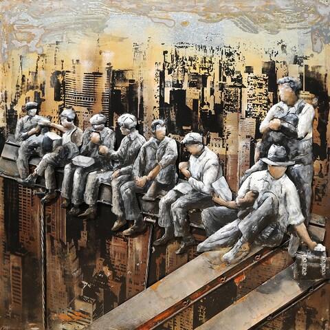 Aurelle Home Men on a Bridge Wall Decor Metal Painting