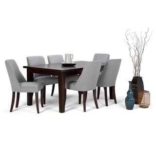 WYNDENHALL Haley Contemporary 7 Pc Dining Set with 6 Upholstered Dining Chairs and 66 inch Wide Table