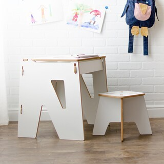 Modern Kids Desk and Stool with Storage