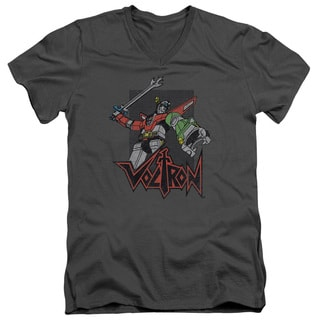 Voltron/Roar Short Sleeve Adult T-Shirt V-Neck 30/1 in Charcoal