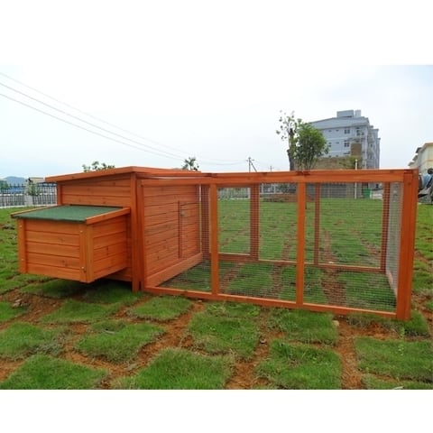 PawHut Deluxe Wooden 87-inch Backyard Chicken Coop with Large Outdoor Run and Nesting Box
