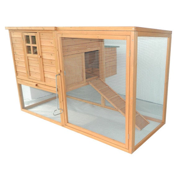 """PawHut 64"""" Large Wooden Chicken Coop Kit With Outdoor Run And Nesting Box. Opens flyout."""