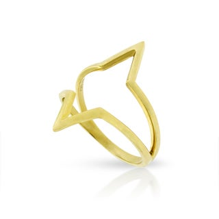 14k Yellow Gold Women's Fancy Double V Chevron Triangle Italian Ring (Size 8)