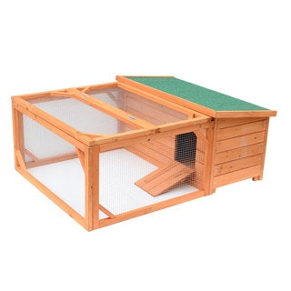 Pawhut Small Wooden Bunny Rabbit and Guinea Pig/ Chicken Coop with Outdoor Run