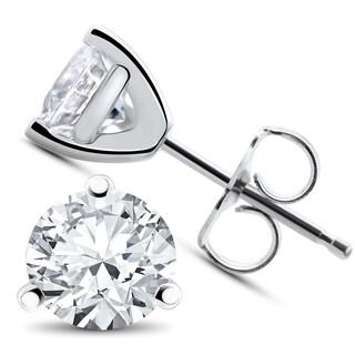 14k White, Yellow, or Rose Gold 1 ct TDW Diamond 3-Prong Martni Studs - White