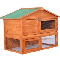 Pawhut Brown Wood 48-inch Deluxe 2-level Backyard Rabbit Hutch