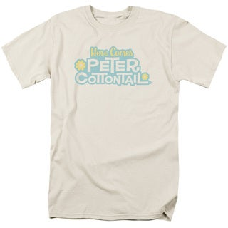Here Comes Peter Cottontail/Logo Short Sleeve Adult T-Shirt 18/1 in Cream