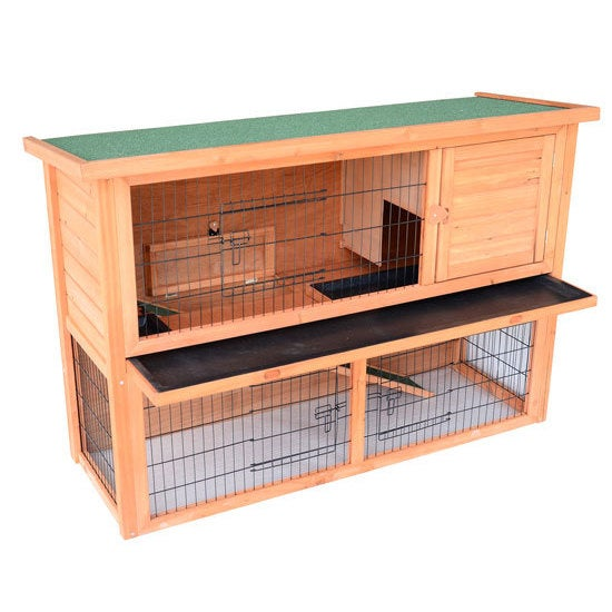 Aosom Pawhut 54-inch Wooden Rabbit Hutch/Bunny House with...