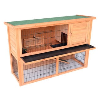 Pawhut 54-inch Wooden Rabbit Hutch/Bunny House with Outdoor Run