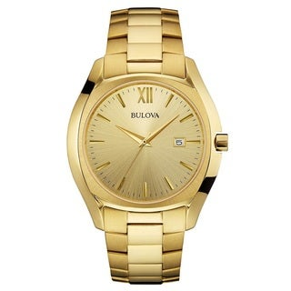 Bulova Men's 97B146 Stainless Steel Gold Tone Watch with a Champagne Dial and a Date Window