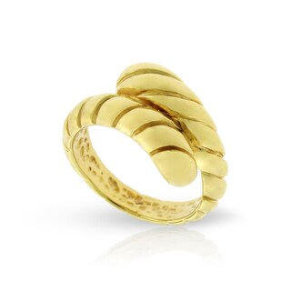 14k Yellow Gold Women Fancy Twist Spiral Wrap Around Italian Ring