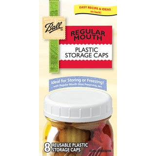 Ball 36010 Regular Mouth Plastic Storage Caps 8-count