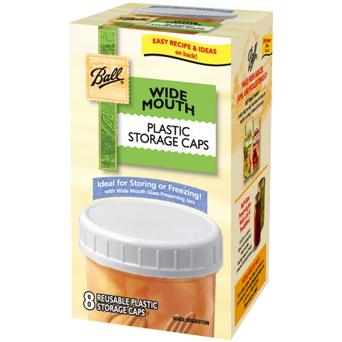 Ball 37000 Wide Mouth Plastic Storage Caps 8-count