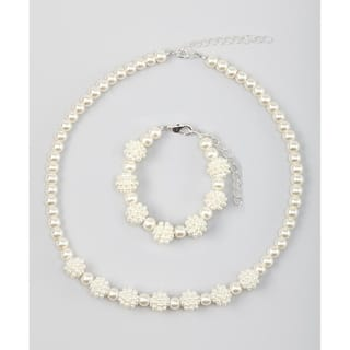Cream Simulated Pearl Sparkly Child's Necklace Set|https://ak1.ostkcdn.com/images/products/12505337/P19312942.jpg?impolicy=medium