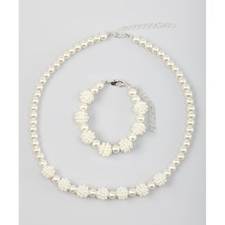Cream Simulated Pearl Sparkly Child's Necklace Set
