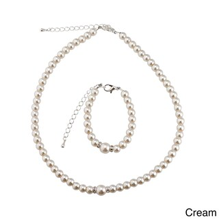 Crystal Dream Luxury Elegant Pearl Child Bracelet and Necklace Gift Set (More options available)